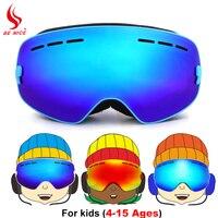 Benice Brand Ski Goggles Kids Winter Double Layers Anti Fog Big Mask Child Skiing Snowboard Glasses