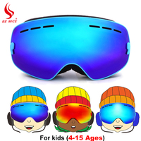 Benice Brand Ski Goggles Kids Winter Double Layers Anti Fog Big Mask Child Skiing Snowboard Glasses