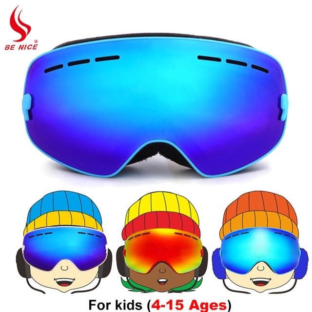 Benice marca óculos de esqui crianças Inverno camadas duplas anti-nevoeiro  grandes óculos de esqui 5f98c7ad08