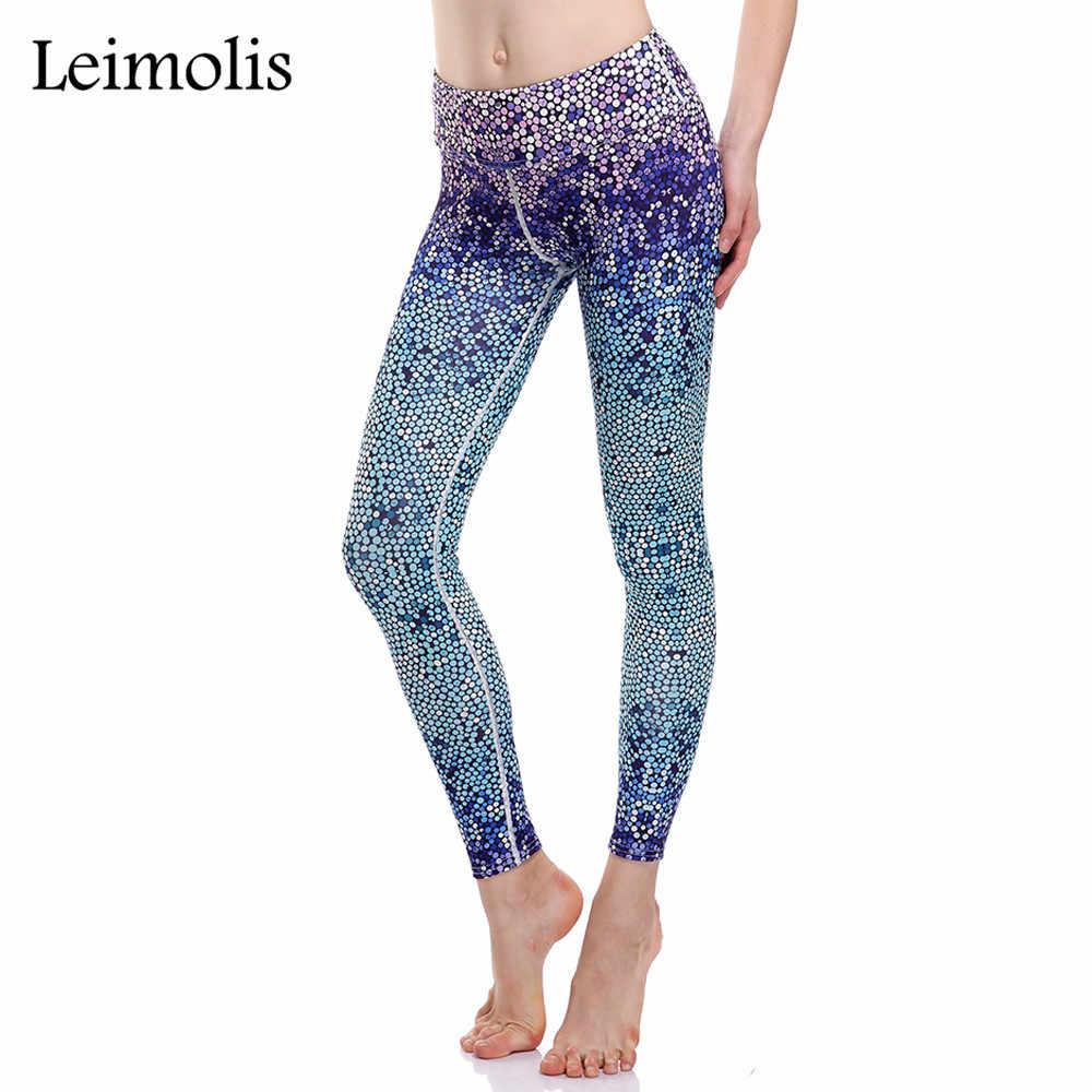 88e78793b6e43 Leimolis 3D print blue dot winter warm Harajuku punk High Waist workout  push up plus size