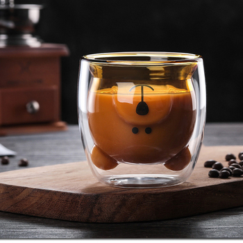 270 ml double coffee cup high borosilicate glass cold drink cup hot drink cup cute bear glassMilk glass, milk tea glass embossed peach heart glass japanese cherry petal water cup loving milk water cup fruit juice cold drink transparent coffee cup