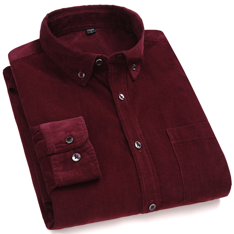 New Arrival  Cotton Corduroy Long Sleeve Button Collar Quality Warm Easy Care Regular Fit Simple  Business Men Casual Shirts