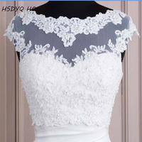 2016 Free Shipping White Hot Sales White Tulle With Appliques Tank Bridal Wedding Bolero Bridal Jacket