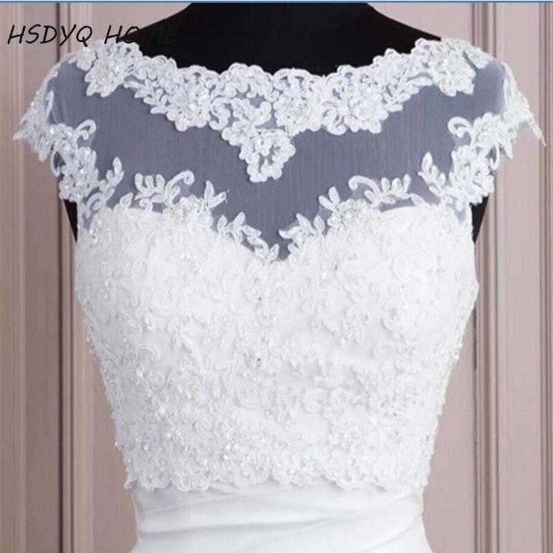 HSDYQ HOME 2018 White Hot Sales White Tulle With Appliques Tank Bridal Wedding Bolero Bridal Jacket Wedding Lace Shrug