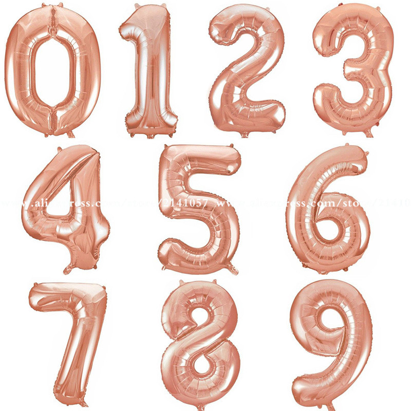 1pcs/lot New 16 Inch Rose Gold Digit Foil Number Balloons Number Air Balloon Wedding Birthday Decorations Event Party Supplies