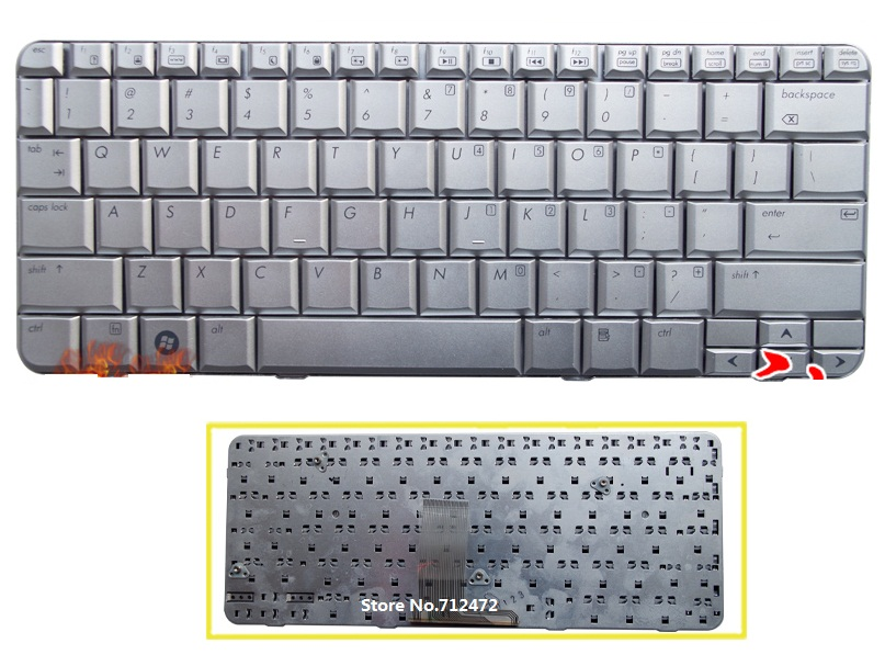 SSEA New US Keyboard silver for HP B1200 B2210 TX1000 <font><b>TX1200</b></font> TX1100 TX1400 Pavilion TX2000 TX2100 TX2500 image