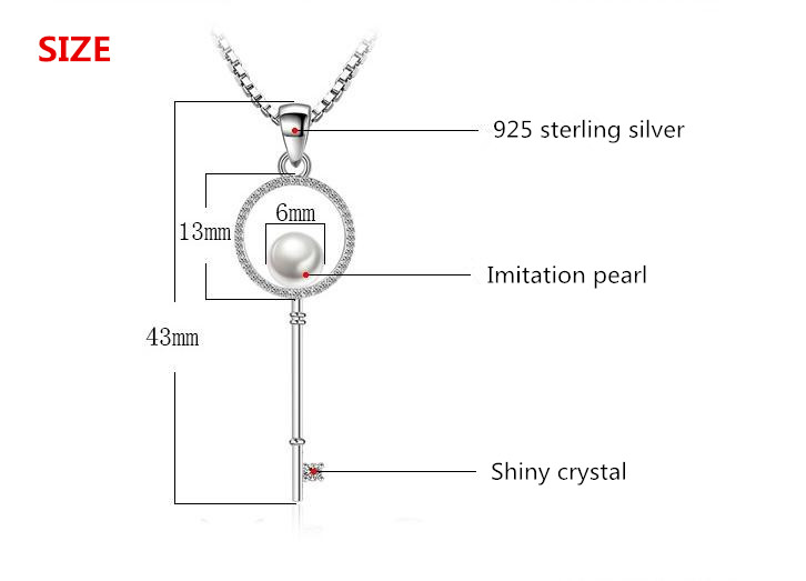 Hot Sale Design Fashion Imitation Pearl Crystal Key 925 Sterling Silver Pendant Necklaces for Women Girls Jewelry Christmas Gift in Pendant Necklaces from Jewelry Accessories