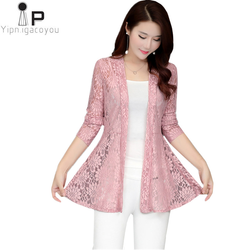 top brands reasonably priced finest selection US $9.35 53% OFF|Long Women Lace Coat Cardigan Summer Plus Size Pink Net  Yarn Hollow Out Sun Clothes Shawl Women Coats Elegant Black Jacket 5XL-in  ...