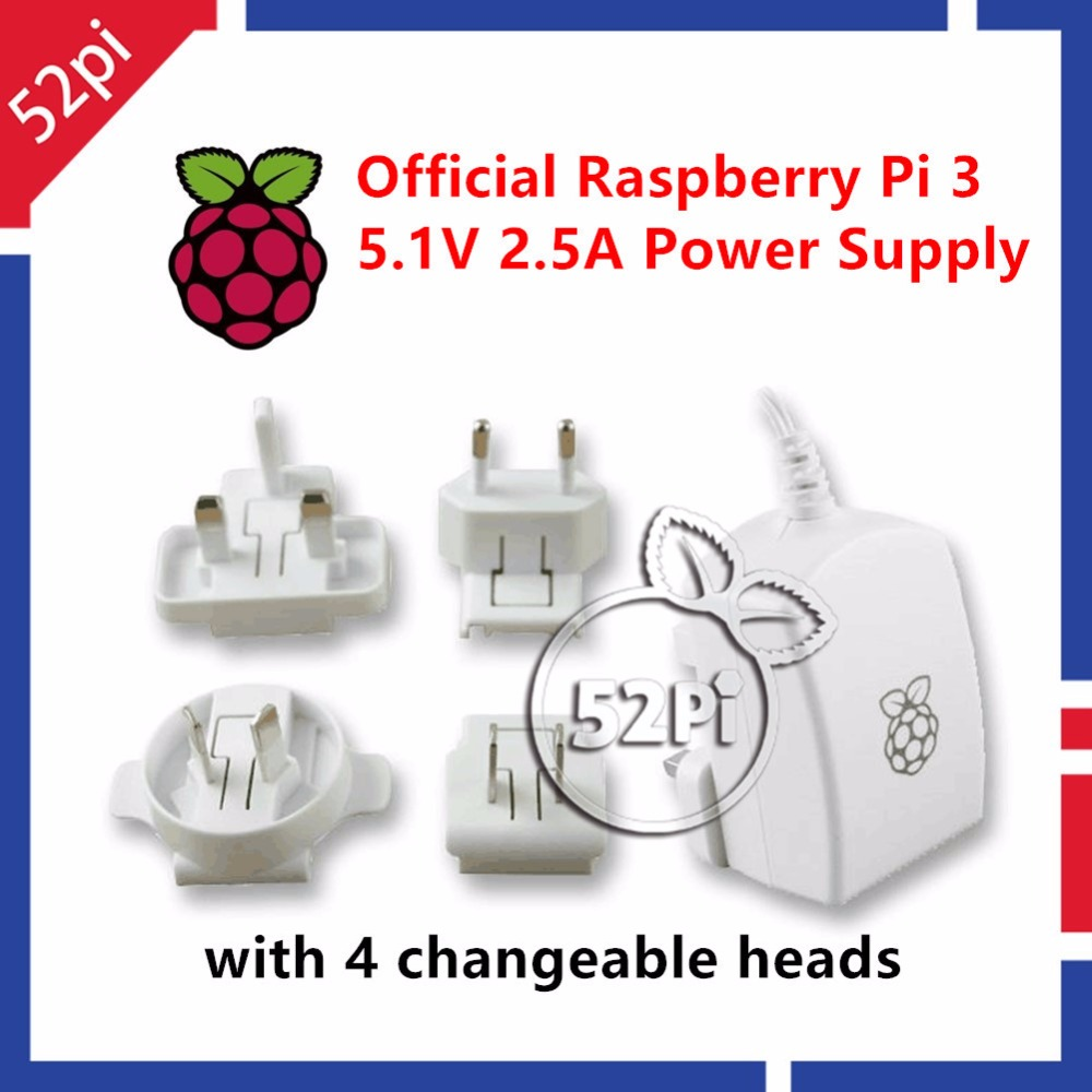 Official Raspberry Pi 3 Model B Power Supply 5.1V 2.5A Micro USB Power Adapter Charger with EU/US/UK/AU Plug White