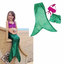 2016 New Baby Kids Girls Mermaid Swimwear Outfits 3pcs Set Shorts and Sequins Princess Swimsuits 6pcs/lot