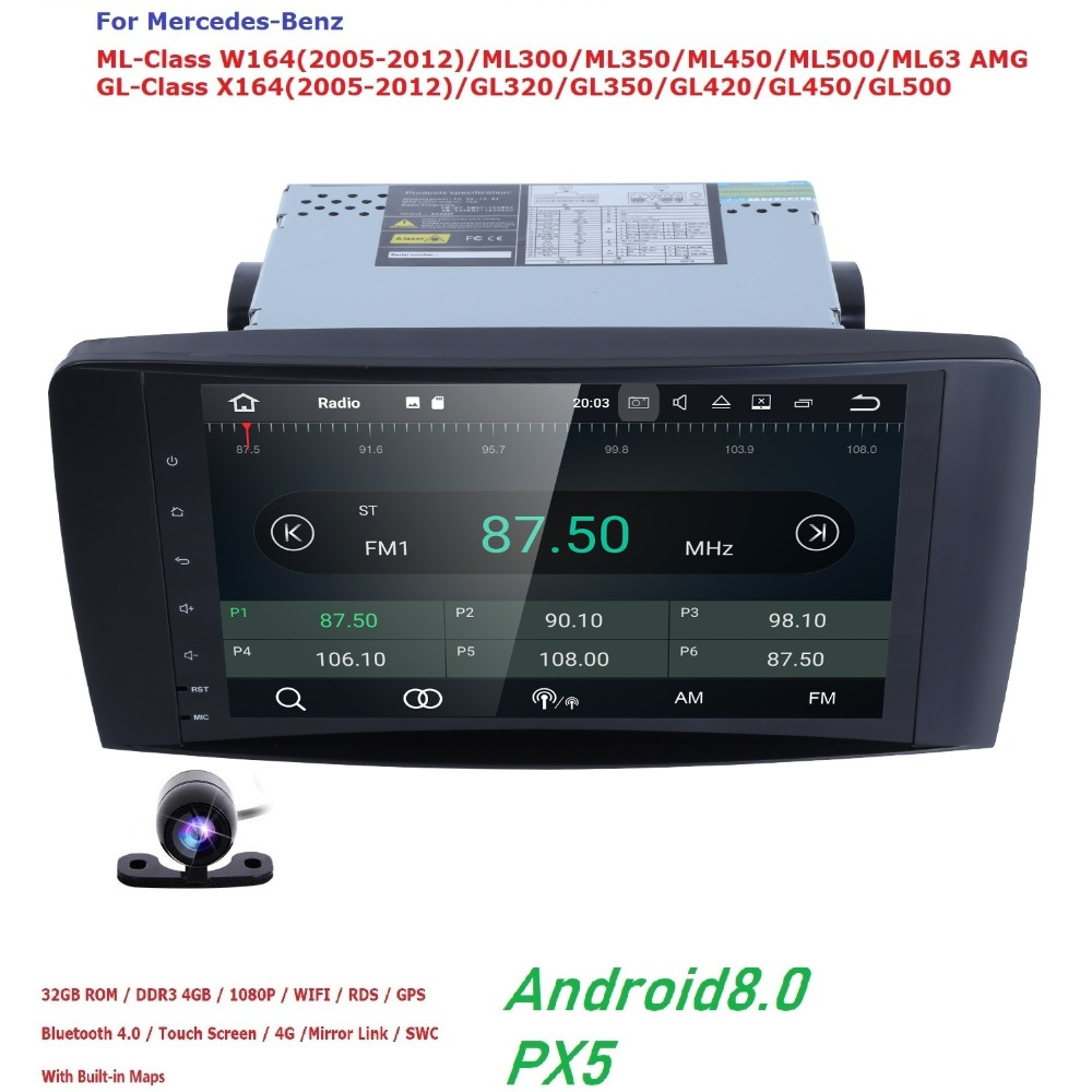 Car Multimedia Player 2din Car Radio GPS For Mercedes/Benz/GL ML CLASS W164 X164 ML350 ML450 ML500 GL320 GL450 Canbus Android8.0 custom fit car floor mats special for w164 w166 mercedes benz ml gle ml350 ml400 ml500 gle300 gle320 gle400 gle450 gle500 liner