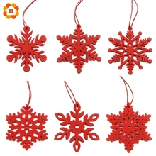 6PCS DIY White&Red Snowflakes Christmas Wooden Pendants Ornaments For Xmas Tree Ornaments Christmas Party Decorations Kids Gift