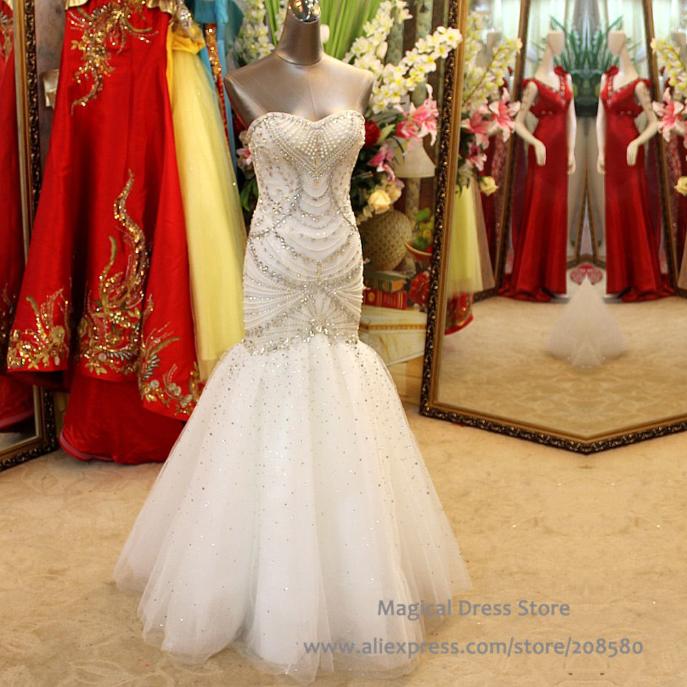 Luxury pearl crystal rhinestone wedding dress mermaid for Bling corset mermaid wedding dresses