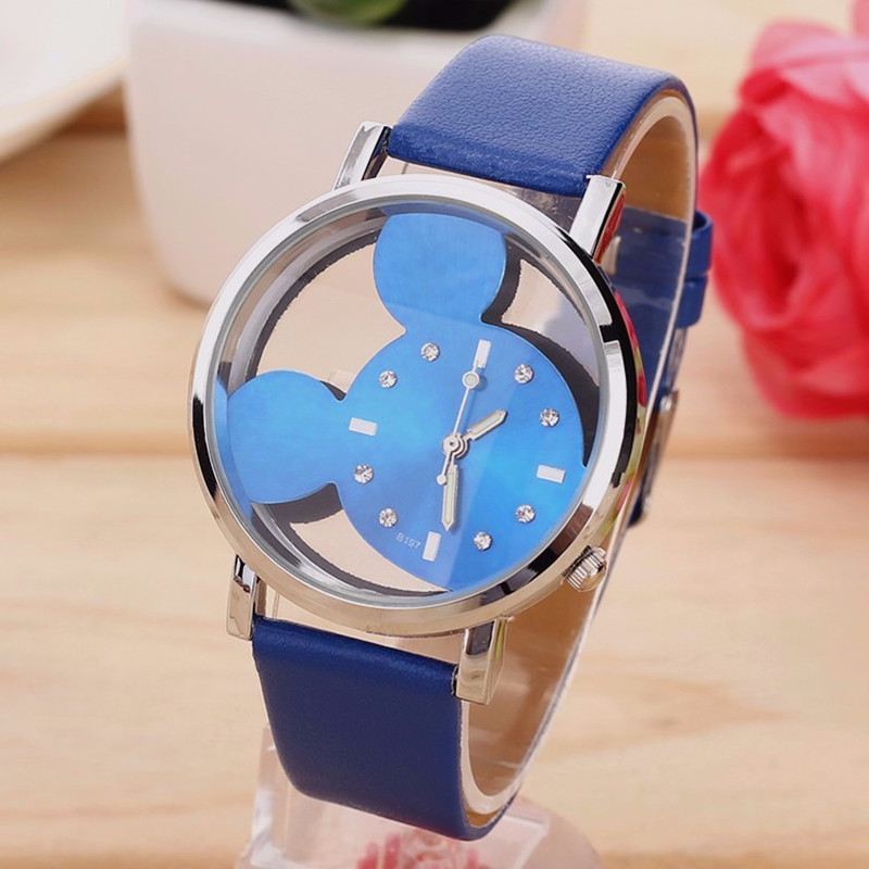New Fashion Cartoon Mickey Mouse Quartz Watches Women transparent hollow dial leather Women Watch Relogio feminino in Women 39 s Watches from Watches