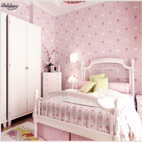 beibehang Environmental protection non woven breathable wallpaper warm children's room ovely pink strawberry wallpaper
