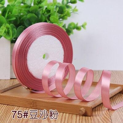 10 мм, 25 ярдов, односторонняя шелковая сатиновая лента, дешевая декоративная подарочная упаковка, Свадебные Рождественские ремесла, белые, розовые, красные, черные ленты - Цвет: Bean powder