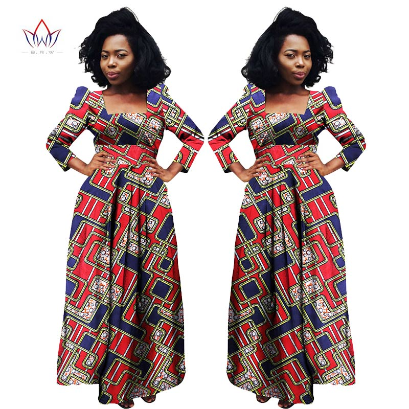2017 BRW Africain Bazin Riche Dashiki Tissu Robes Afrique Cire Imprimer Mode  Style Plus Taille Vêtements
