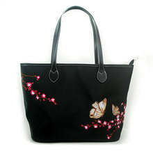 Women's handbag Messenger bag cotton handmade Chinese style embroidery lotus bag bag retro black shoulder bag butterfly flower цена и фото