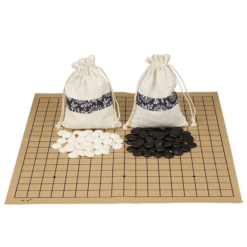 High Quality Weiqi Go Game Melamine Pieces Suede Leather Cloth Bags Gobang International Standard On Go Chess Gomoku Board Games