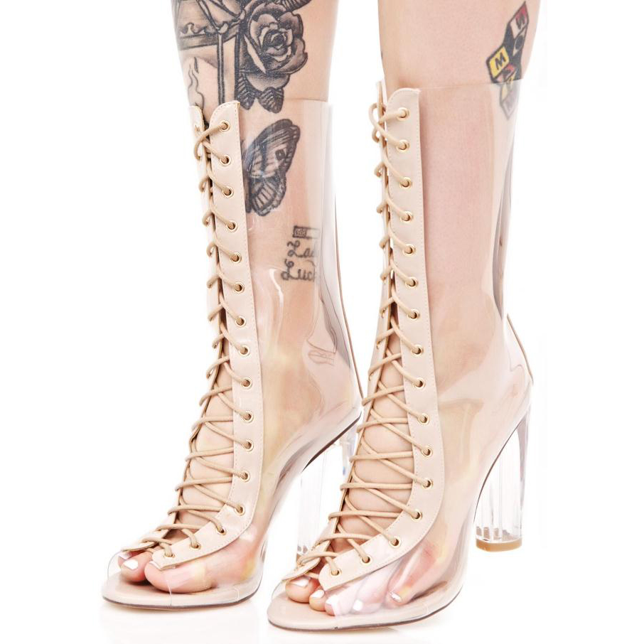 THEMOST Vrouwen Frank Anekeh 2017 Nieuwe Sexy PVC Transparante Gladiator Sandalen Peep Toe Schoenen Clear Chunky hakken Sandalen Mujer Vrouwen