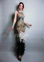 2019 Новое дизайнерское модное дизайнерское платье со стразами и перьями одежда для дня рождения стрейчевое цельное платье с камнями