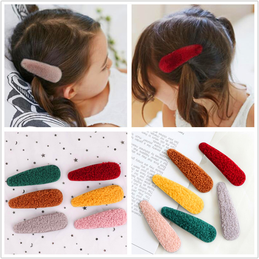 9cm Macaroon Wool Hair Snap Clip For Kids Girls  Hair Pin Barrette Children And Mom Winter Hair Accessories Headdress 6pcs/lot