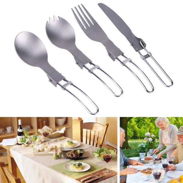 4 style Pure Titanium Folding Spoon Folk Spork Portable Cutlery Travel Tablewares Set 25g Ultralight Dinning Spoons for Feed