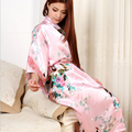 6 Colores Más El Tamaño 3XL Para Mujer Floral ropa de Dormir Camisón de Satén de dama de Honor Vestido de Túnicas Kimono Japonés Rosa Rojo Negro Azul