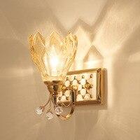 TUDA 34X24cm Free Shipping Creative Petal Glass Lampshade Wall Lamp Luxury K9 Crystal Wall Lamp Vintage Zine Alloy Wall Lamp