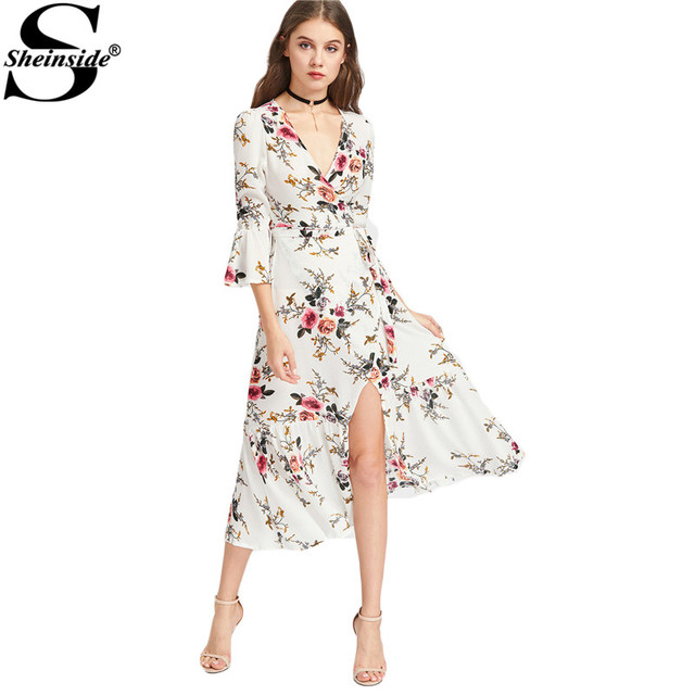 Aliexpress.com : Buy Sheinside Chiffon Summer Dress Women Floral V ...