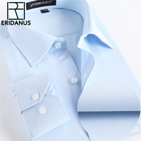 Men Shirts Social 2016 Brand Spring Formal Non Iron Dress Shirt Solid Long Sleeve Business Fashion