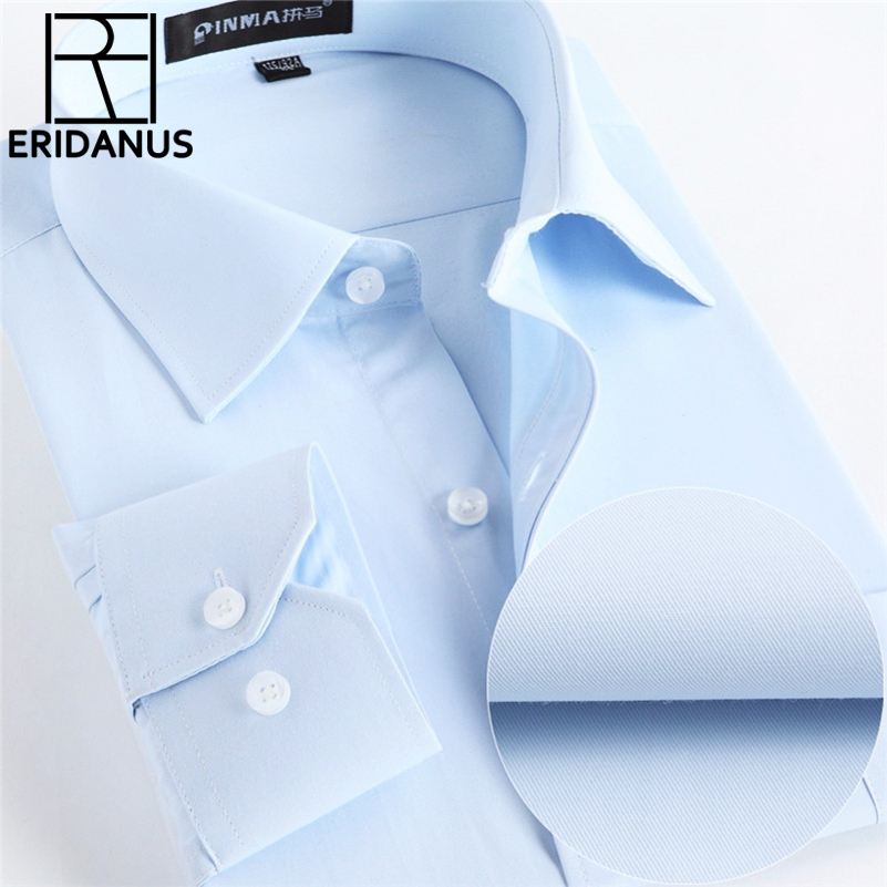 Män Skjortor Sociala 2017 Märke Våren Formell Non Iron Dress Shirt Solid Långärmad Business Mode Män Skjortor Med Knappen X020