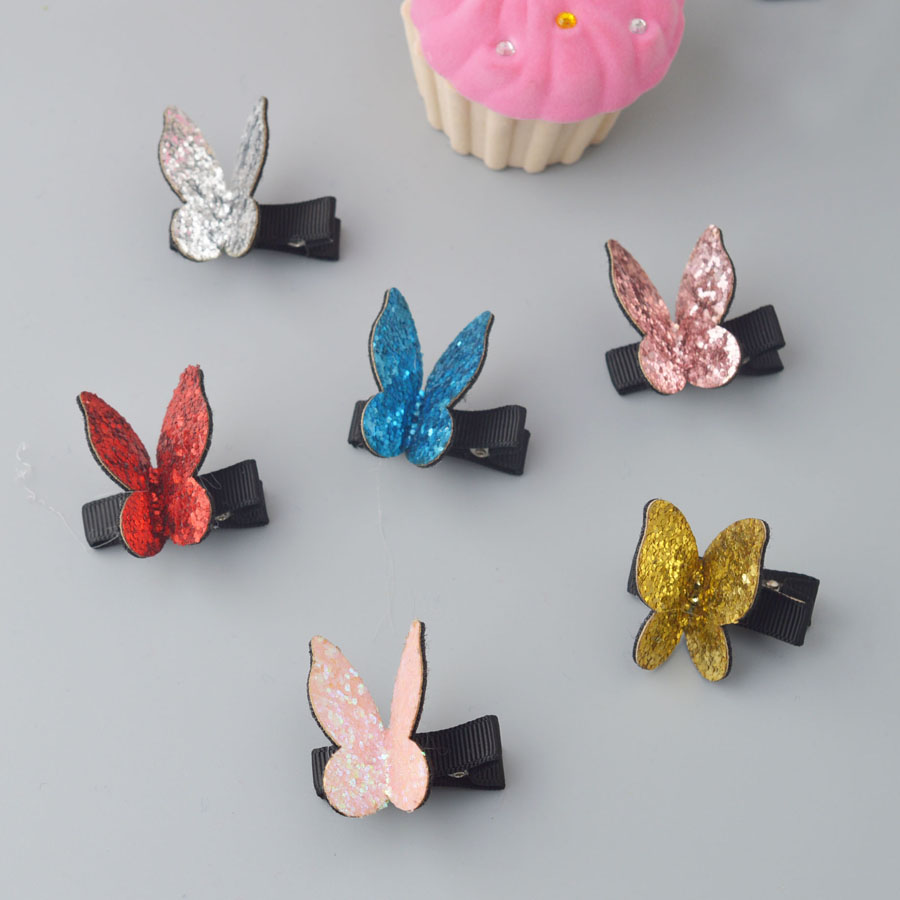 2017 New Kids shining Cartoon Butterfly cute hair clips Newborn Toddlers fashion hairpins Glitter Barrettes Hair Accessories L2 new arrival baby cute 30pcs lot wholesale hair clips glitter animals butterfly felt hairpins high quality baby princess clips