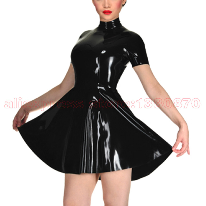 Solid Black Rubber Latex Women Dance Dress with Back Zip to Waist