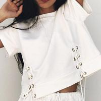 2018 New Fashion Tops T Shirt Women Foreign Hot Summer Slim All Match Jacket Strap Eyelet