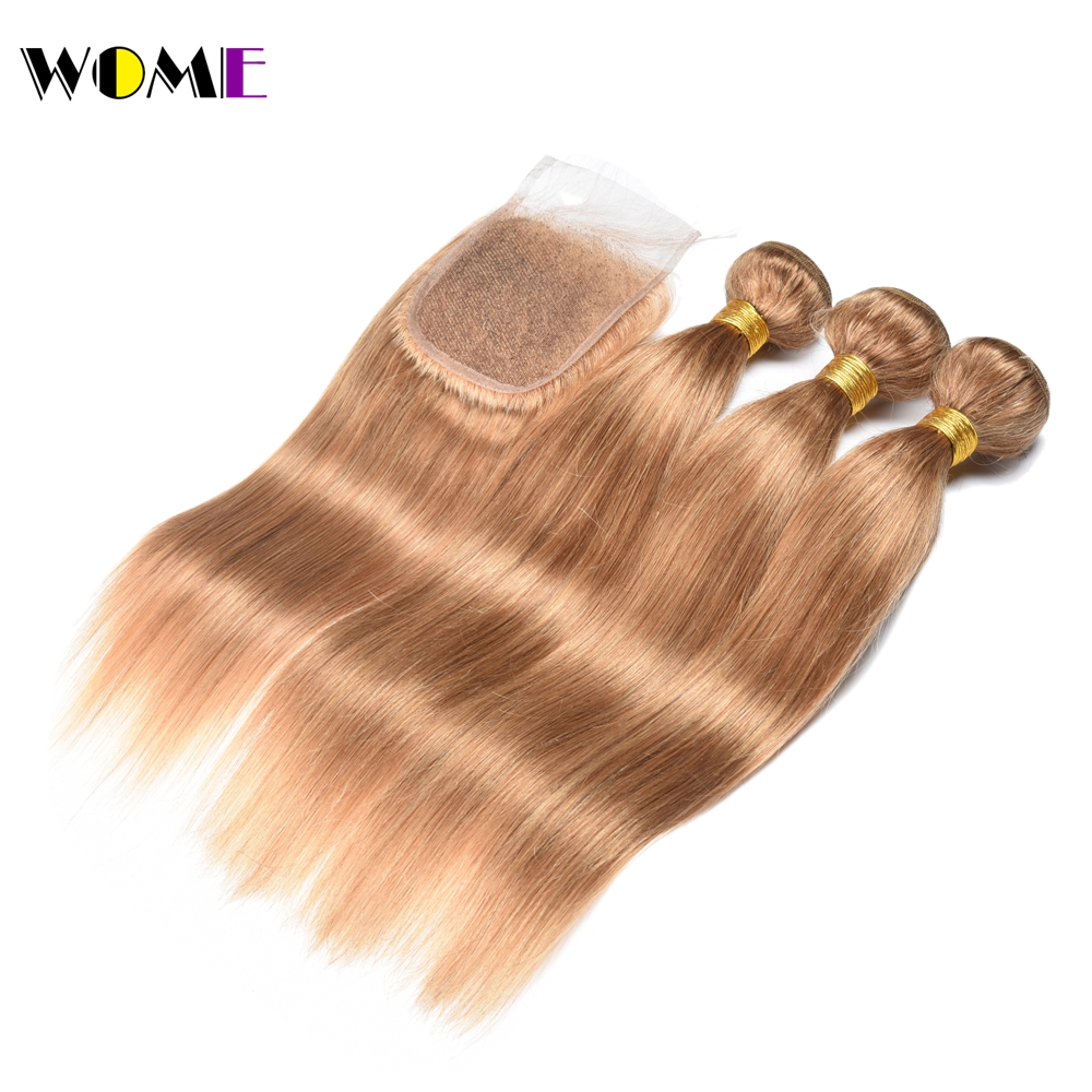 March Queen Malaysian Straight Hair With 4*4 Lace Closure #27 Honey Blonde Human Hair Weave Extensions 4 Bundles With Closure Hair Extensions & Wigs