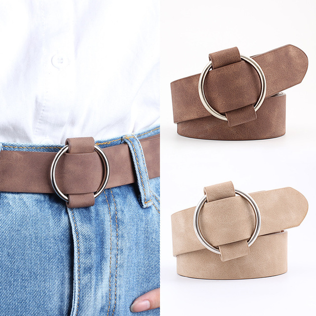 Women leather belt Newest Round buckle belts female leisure jeans wild without pin metal buckle
