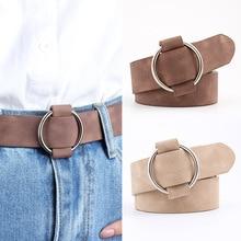 Women leather belt Newest Round buckle belts female leisure