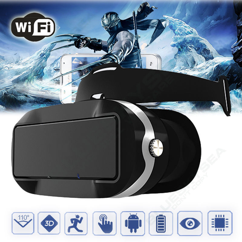Free shipping font b VR b font Virtual Reality 3D Glasses Headset Wifi Bluetooth Control For