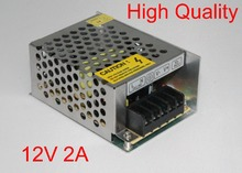 100pcs High Quality 12V 2A DC 24W Universal Regulated Switching Power Supply 12V LED Driver Fedex / DHL Free shipping