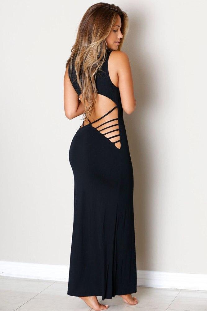 5 colors New 2016 Fashion Summer Backless Dress Women Dress Hollowed Back Maxi Jersey Dress female vestidos para festa 60455