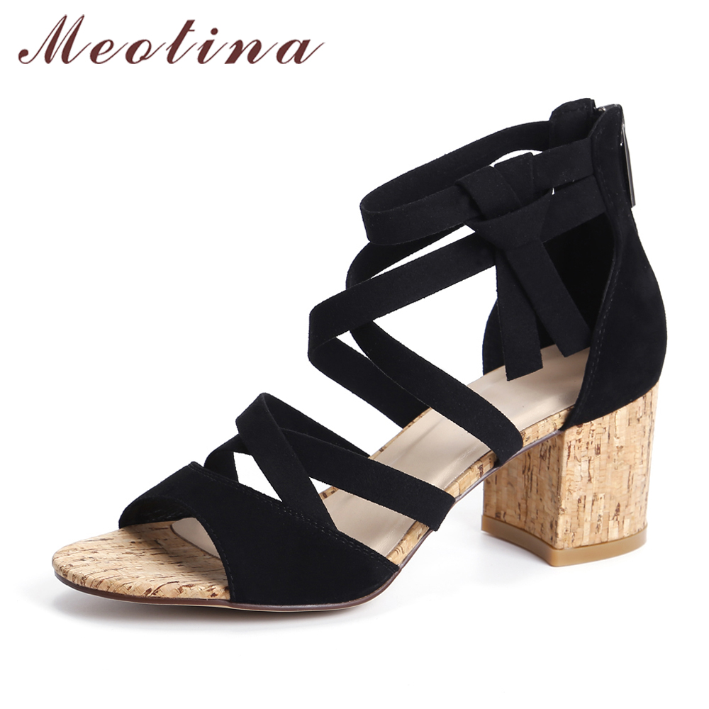 Meotina Genuine Leather Sandals Shoes Women High Heels Sandals Cross Strap Thick Heel Suede Leather Gladiator Sandals Black цены онлайн