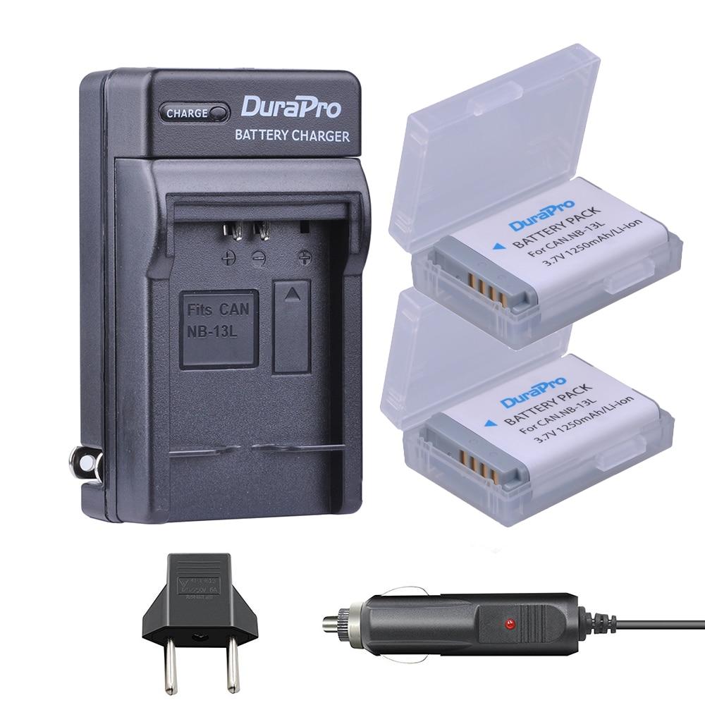 2 pc DuraPro NB-13L NB13L NB 13L Rechargeable Li-ion Batterie + Chargeur De Voiture + UE Plug pour Canon G5X G7X g9X G7 X Mark II SX720 HS