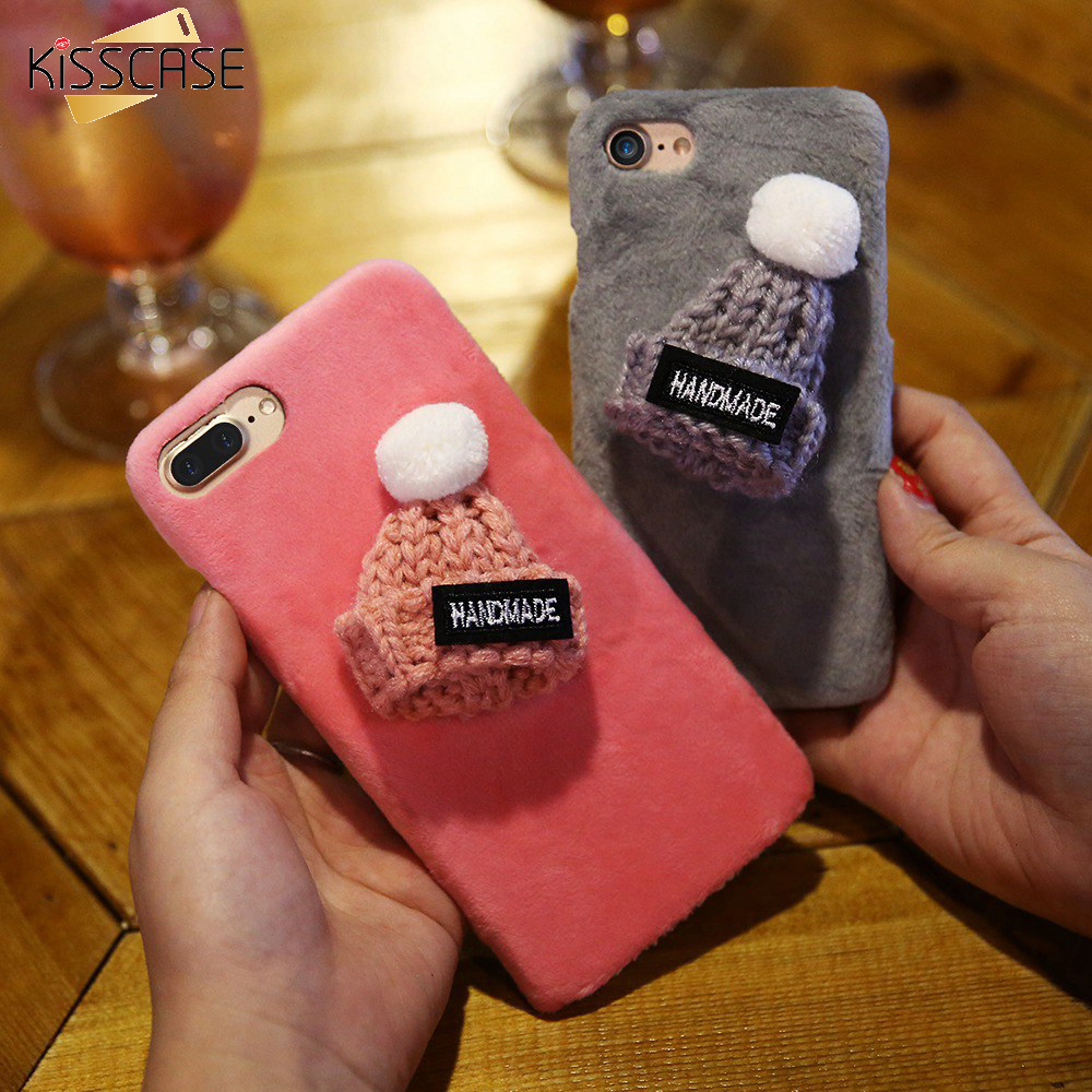 KISSCASE Case For iPhone 7 7 Plus 6 6S Plus Luxury Furry Case With Knitting Hat Leather Fur Back Hard Cute Cover Merry Christmas