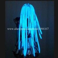Мода свет Цветные волосы световой Косплэй партии Искусственные парики Хэллоуин Рождество Головные уборы для Танцы бар DJ Club