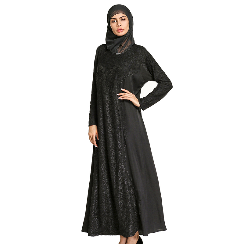 Muslim Black Abaya Lace Maxi Dress Kimono Diamonds Long Robe Gowns Hijab Loose Style Jubah Ramadan Middle East Islamic Clothing