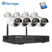 Techage 4CH Wireless 1 3MP Array Cam Surveillance Kit 960P ONVIF WIFI IP Camera Outdoor IP66
