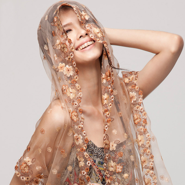 Scarves Embroidery Silk Scarf Top Grade Organza Mulberry Silk Cape Scarf Dual-use Ultra Long Scarf For Autumn Winter Winter