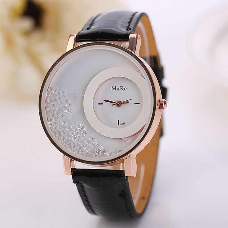 แฟชั่น quartz นาฬิกาผู้หญิงหรูหรา Rhinestone Quicksand หนังนาฬิกาข้อมือนาฬิกาข้อมือ Casual Bulk relogios femininos นาฬิกาผู้หญิง