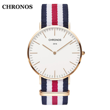 Chronos Fashion Men's Watches Simple Unisex Watches Nylon/Leather Strap Women Watches Quartz Wristwatch